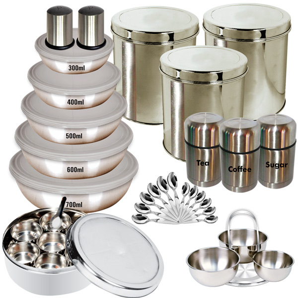 Buy Branded 35 Pcs Stainless Steel Storage Set Online At Best Price