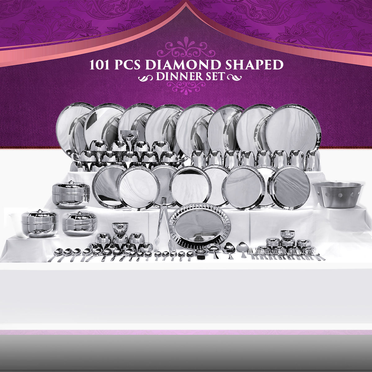 Buy 101 Pcs Diamond Shaped Stainless Steel Dinner Set Online At Best