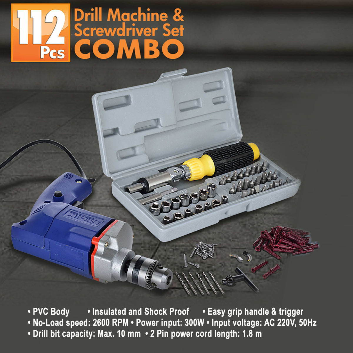 buy 112 pcs drill machine screwdriver set combo online at best price in india on. Black Bedroom Furniture Sets. Home Design Ideas