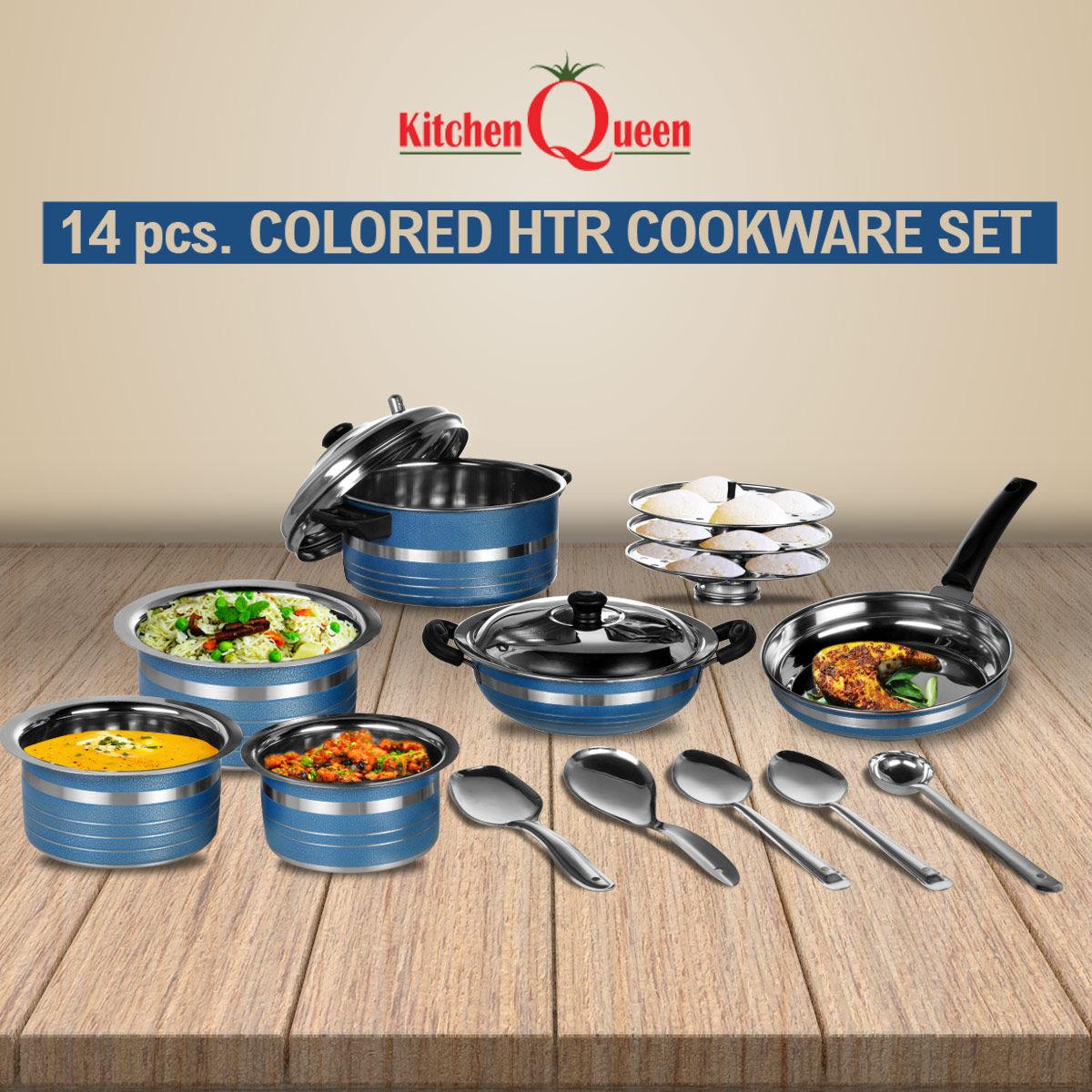 Naaptol Kitchen Set: Buy 14 Pcs Colored HTR Cookware Set Online At Best Price