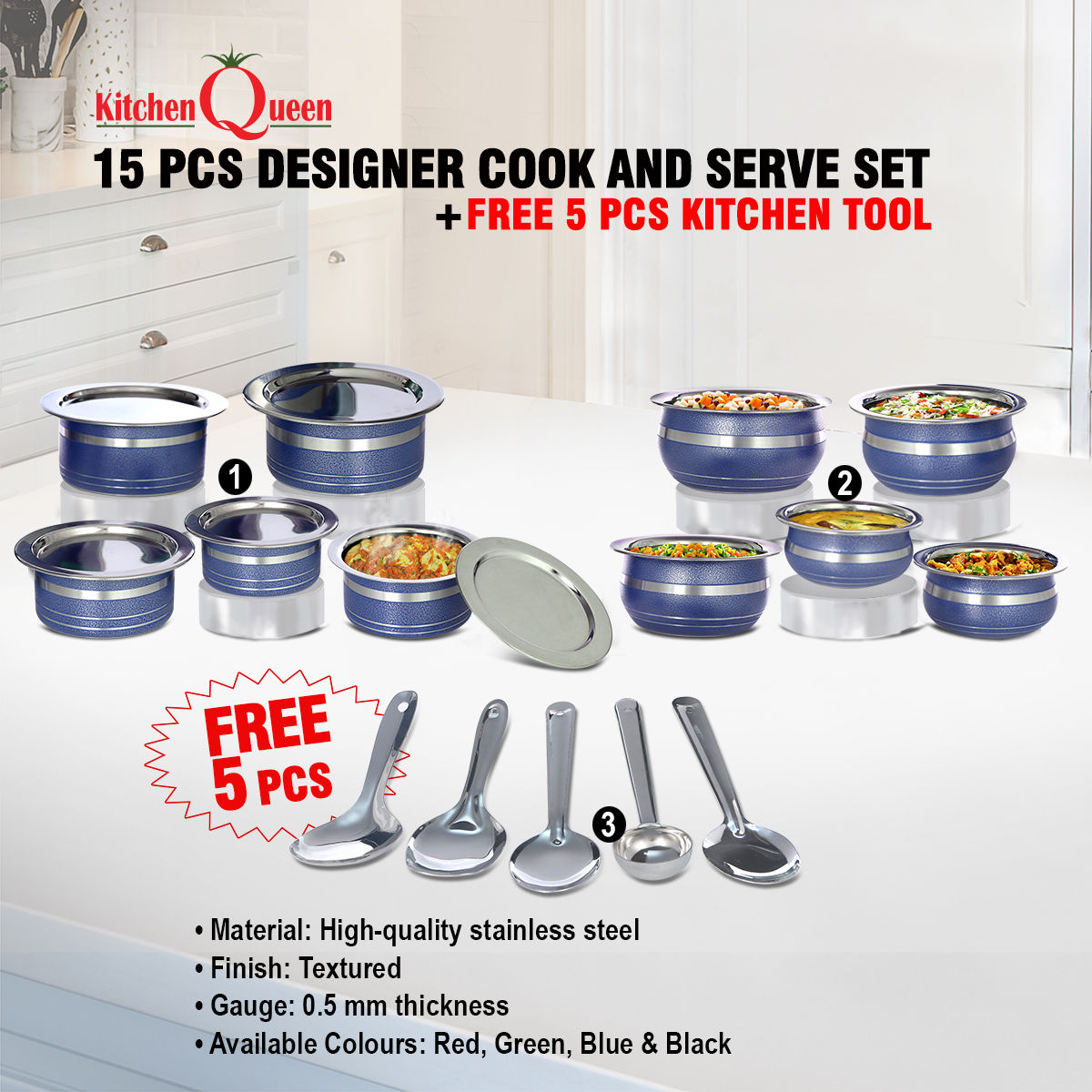 Buy 15 Pcs Designer Cook And Serve Set Free 5 Pcs Kitchen Tool