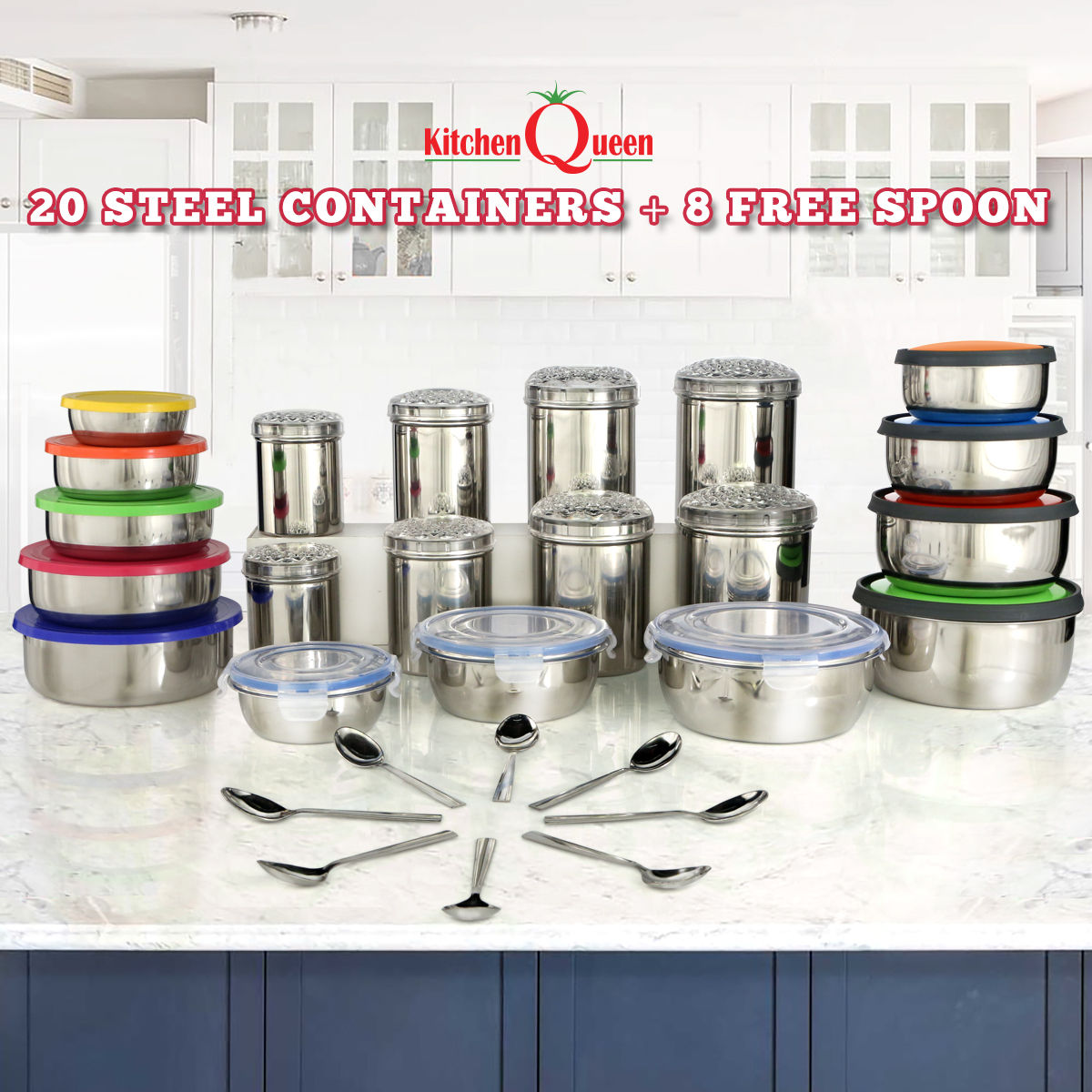 Buy 20 Steel Containers 8 Free Spoons Online At Best Price In