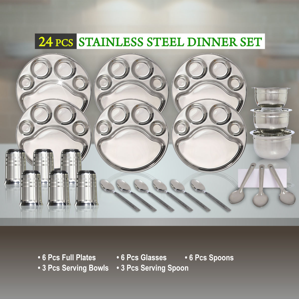 Buy 24 Pcs Stainless Steel Dinner Set Online At Best Price In India