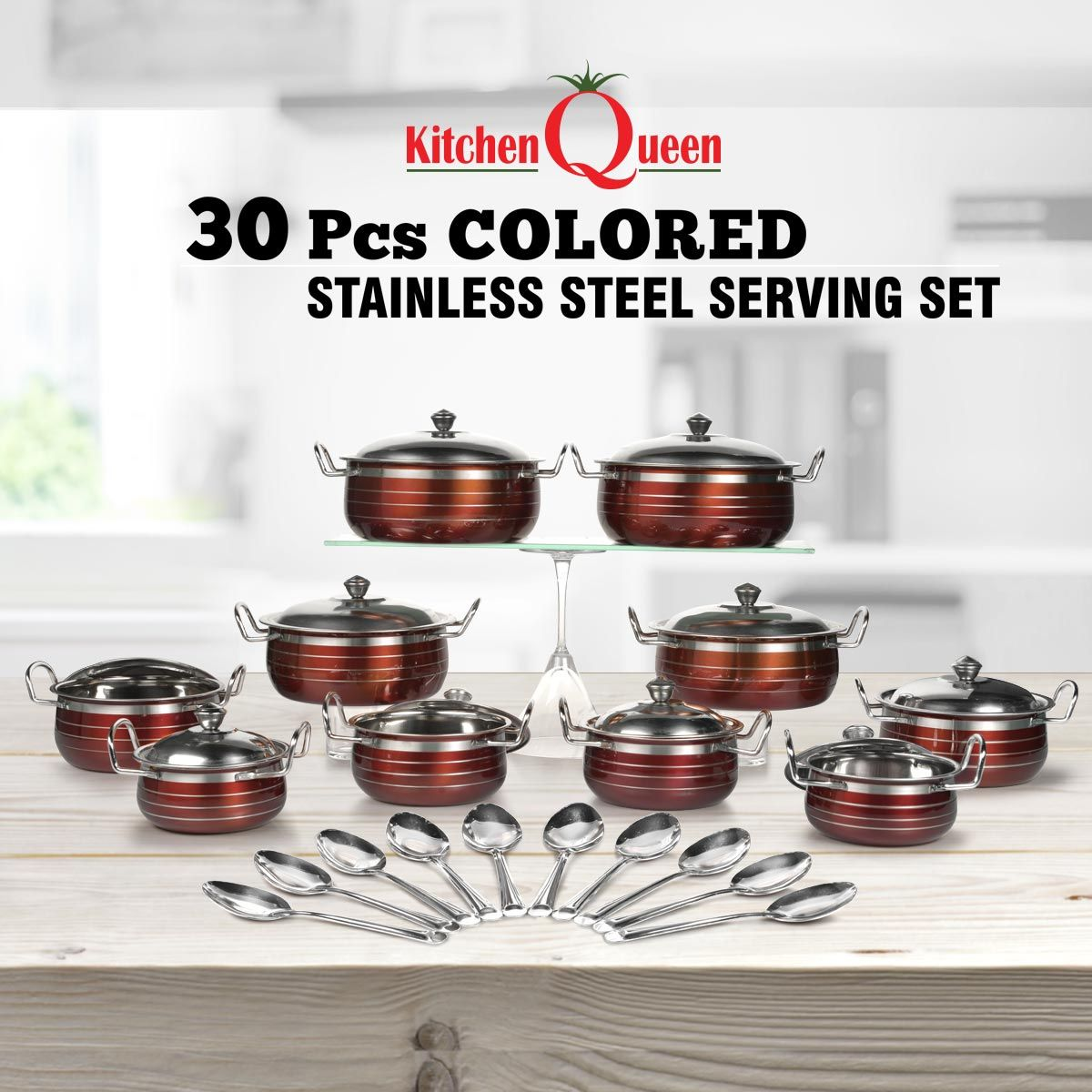 Buy 30 Pcs Colored Stainless Steel Serving Set Online At Best Price