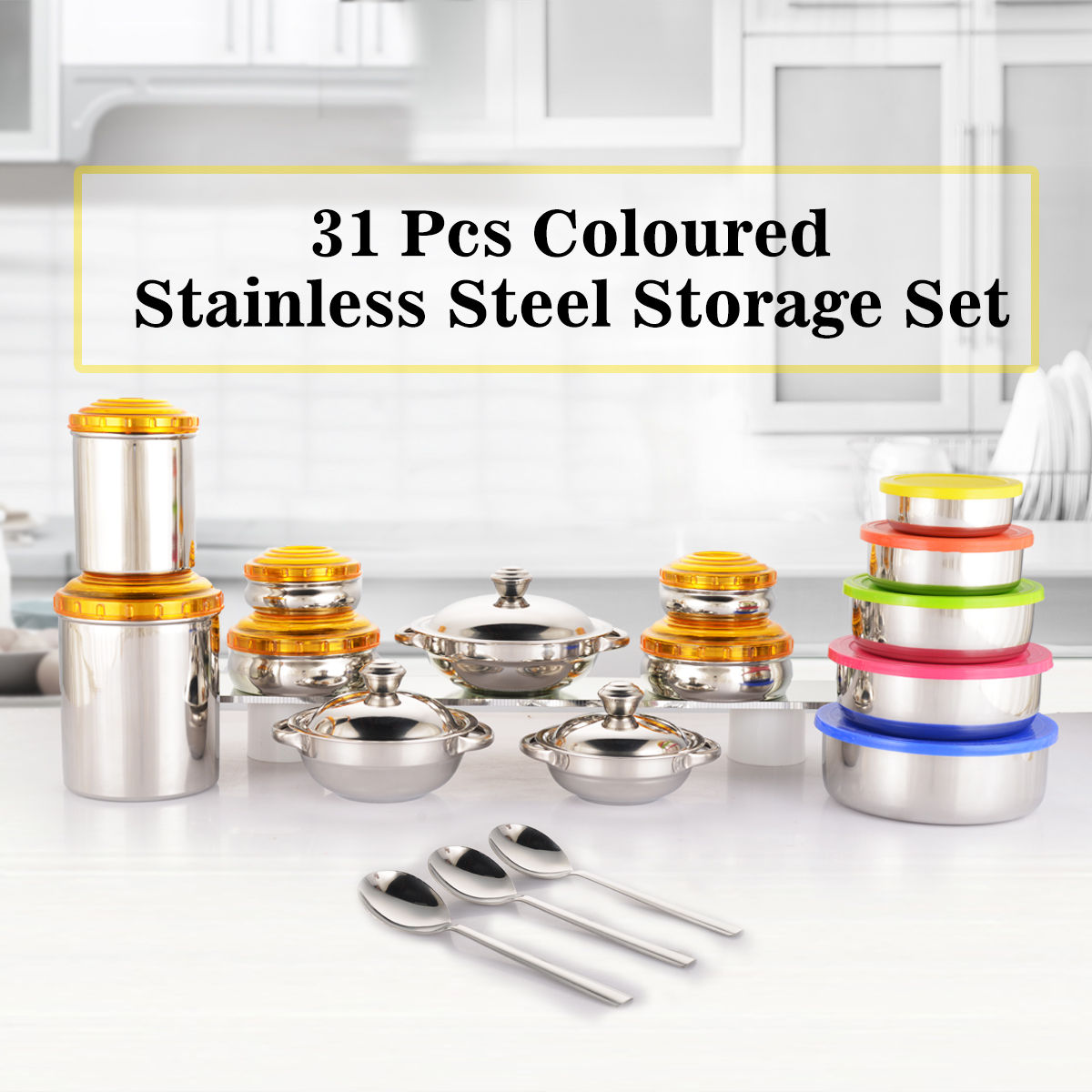 Buy 31 Pcs Coloured Stainless Steel Storage Set Online At Best Price