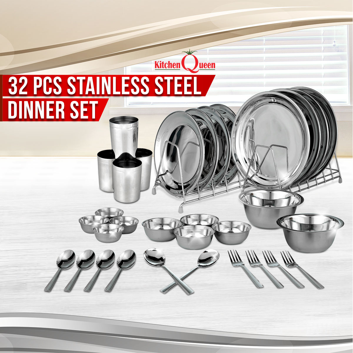 Buy 32 Pcs Stainless Steel Dinner Set Online At Best Price In India