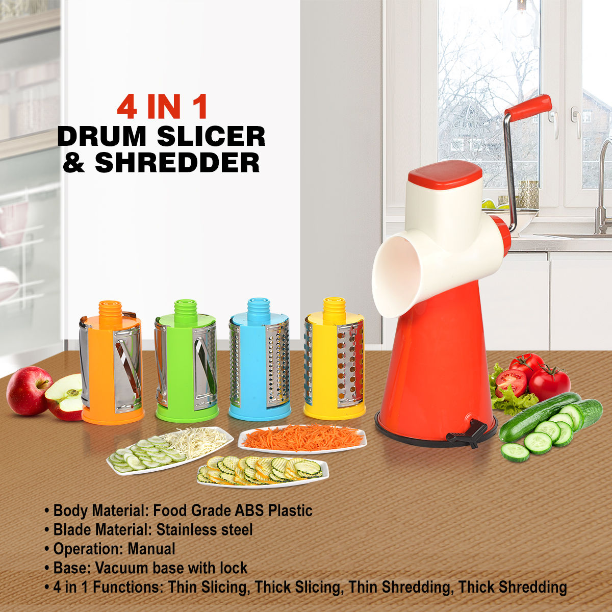 Buy 4 In 1 Drum Slicer Shredder Online At Best Price In India On