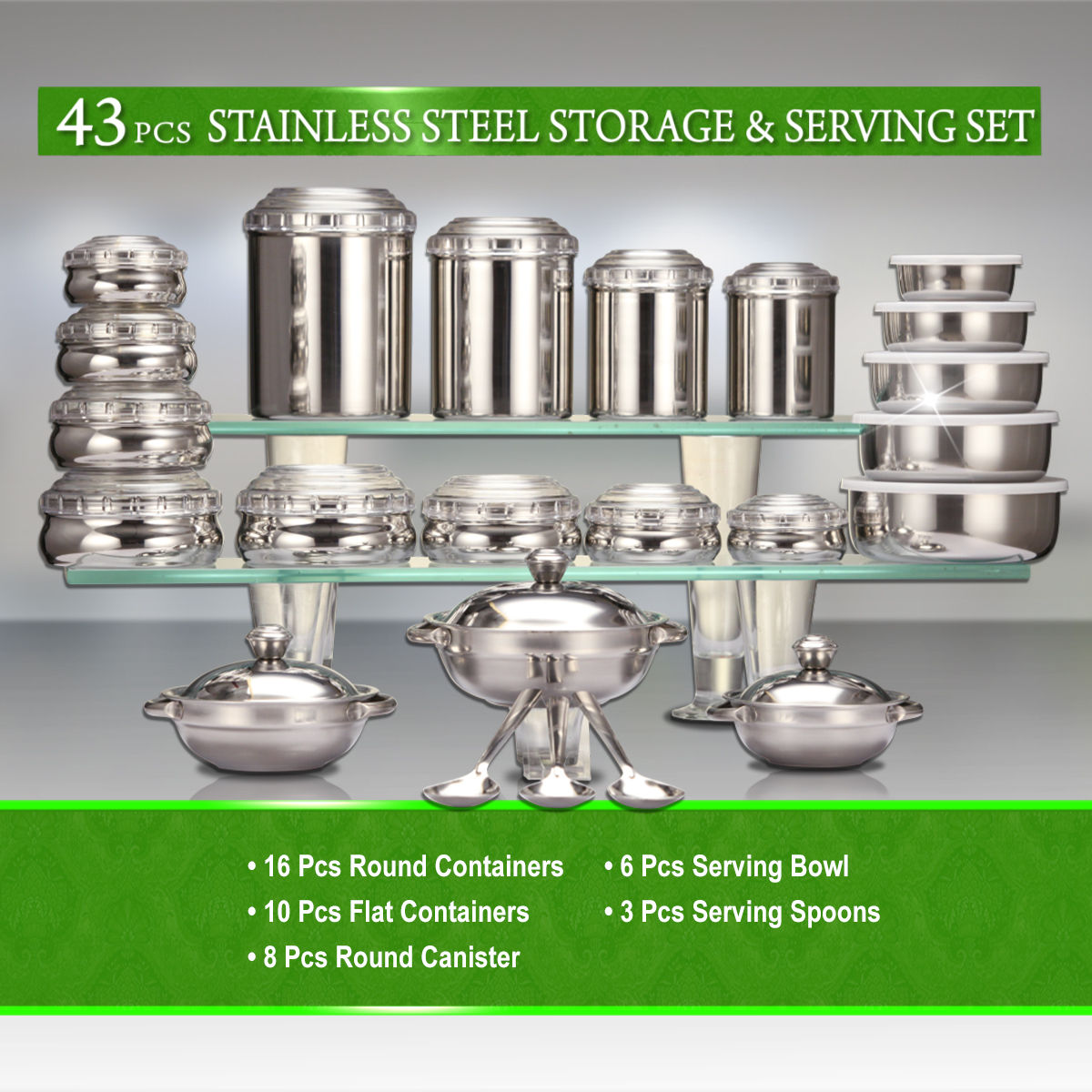 buy 43 pcs stainless steel storage serving set online at