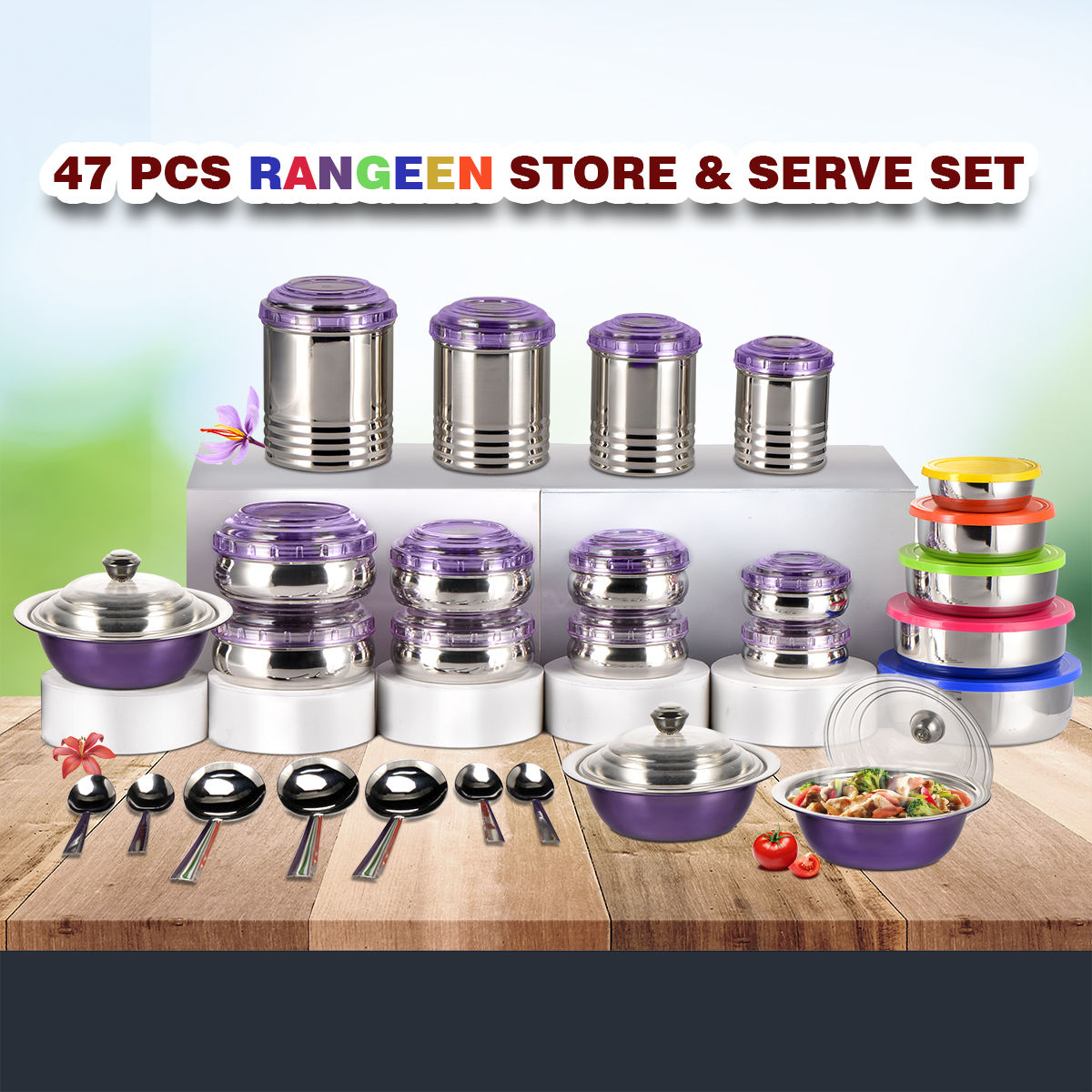 Buy 47 Pcs Rangeen Store Serve Set Online At Best Price In India