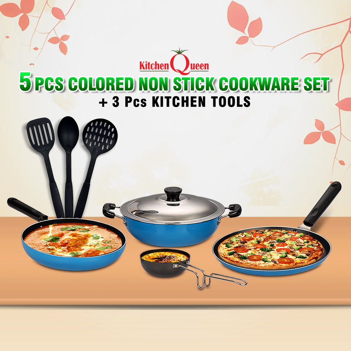 Buy 5 Pcs Colored Non Stick Cookware Set 3 Pcs Kitchen Tools