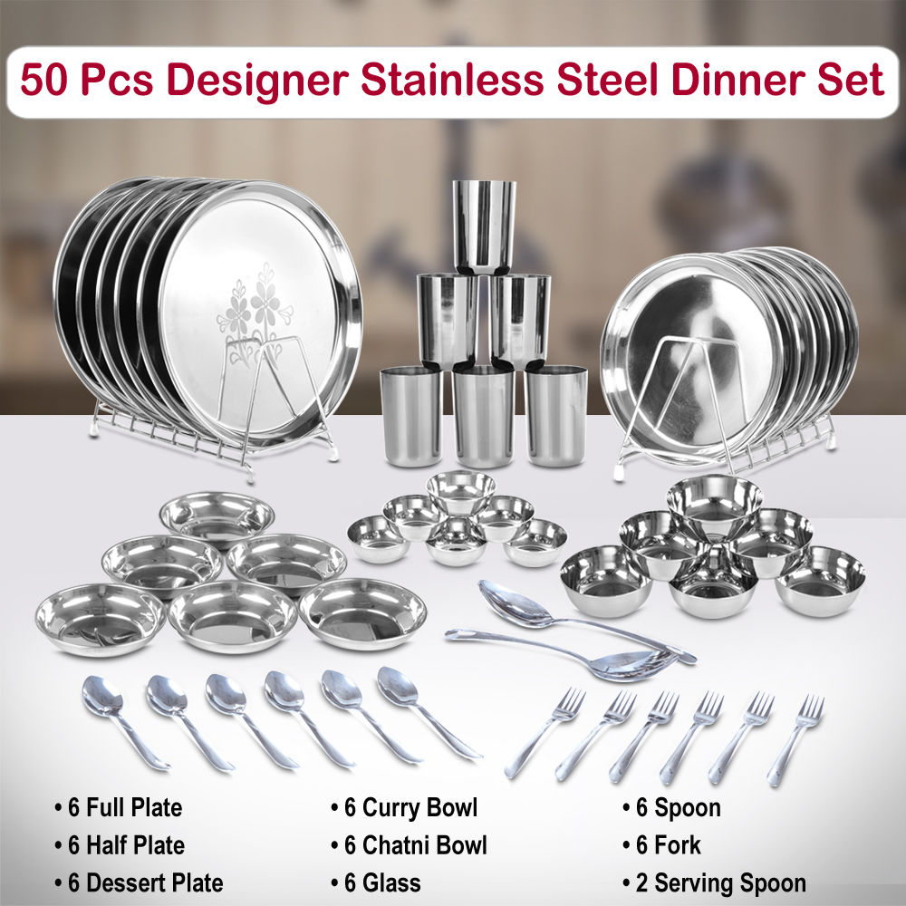 Buy 50 Pcs Designer Stainless Steel Dinner Set Online At Best Price