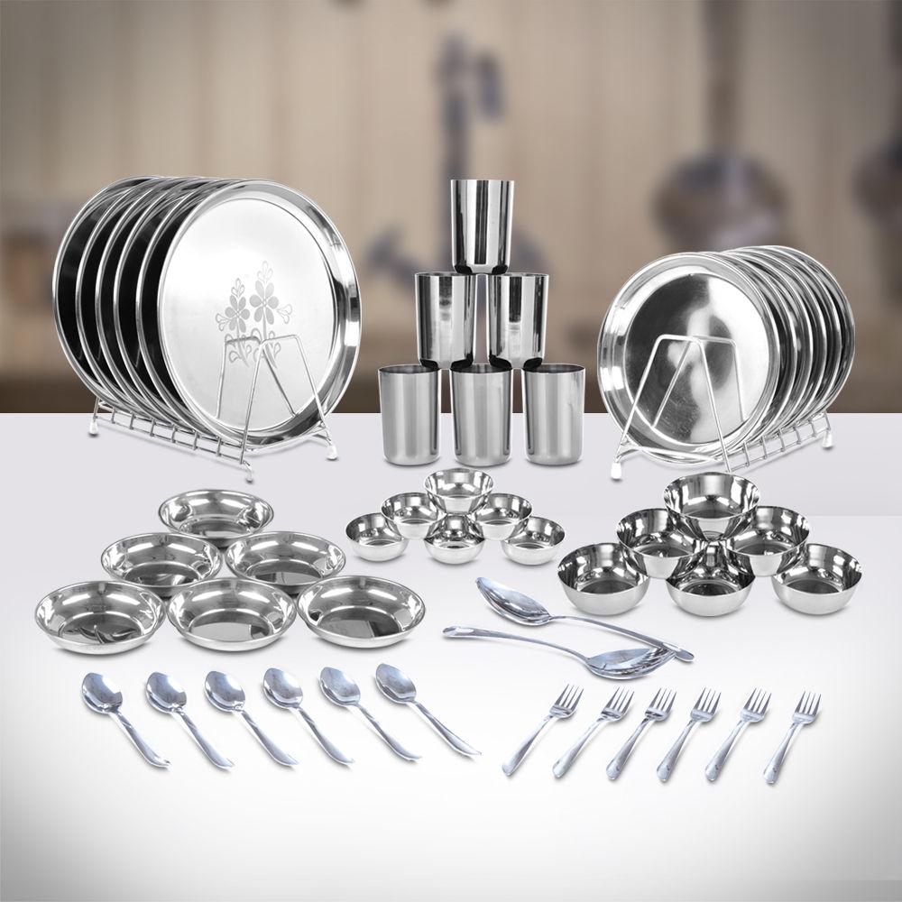 Buy 50 Pcs Designer Stainless Steel Dinner Set Online At Best Price In India On Naaptol Com