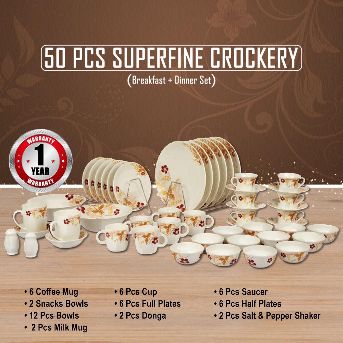 50 Pcs Superfine Crockery Set & Buy 50 Pcs Superfine Crockery Set Online at Best Price in India on ...