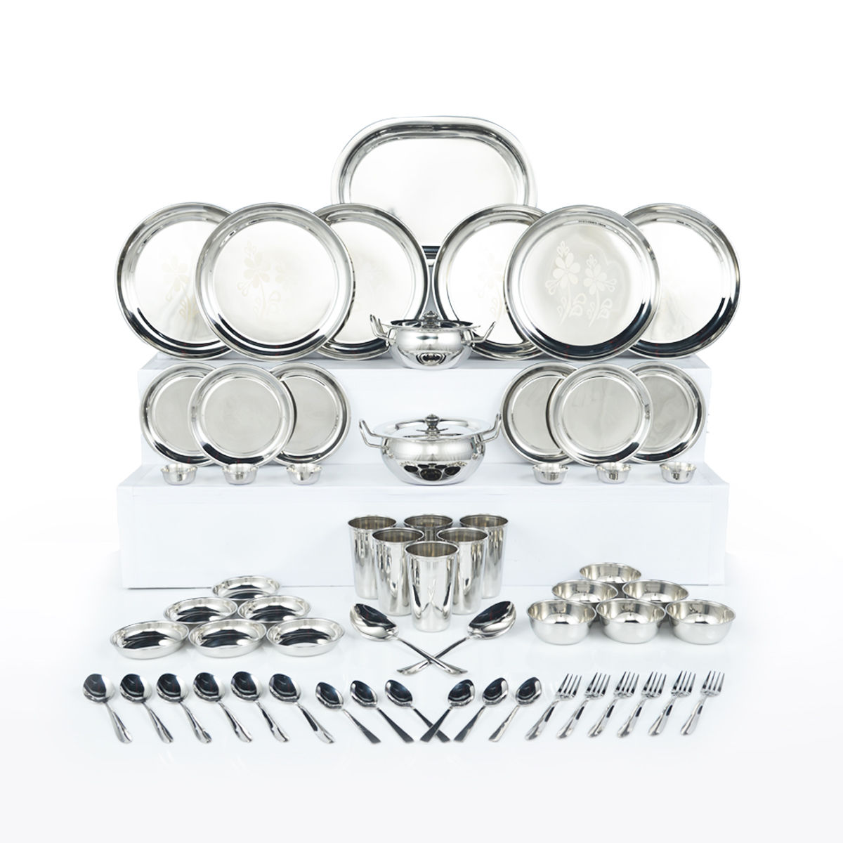 Buy 61 Pcs Designer Stainless Steel Dinner Set Online At Best Price