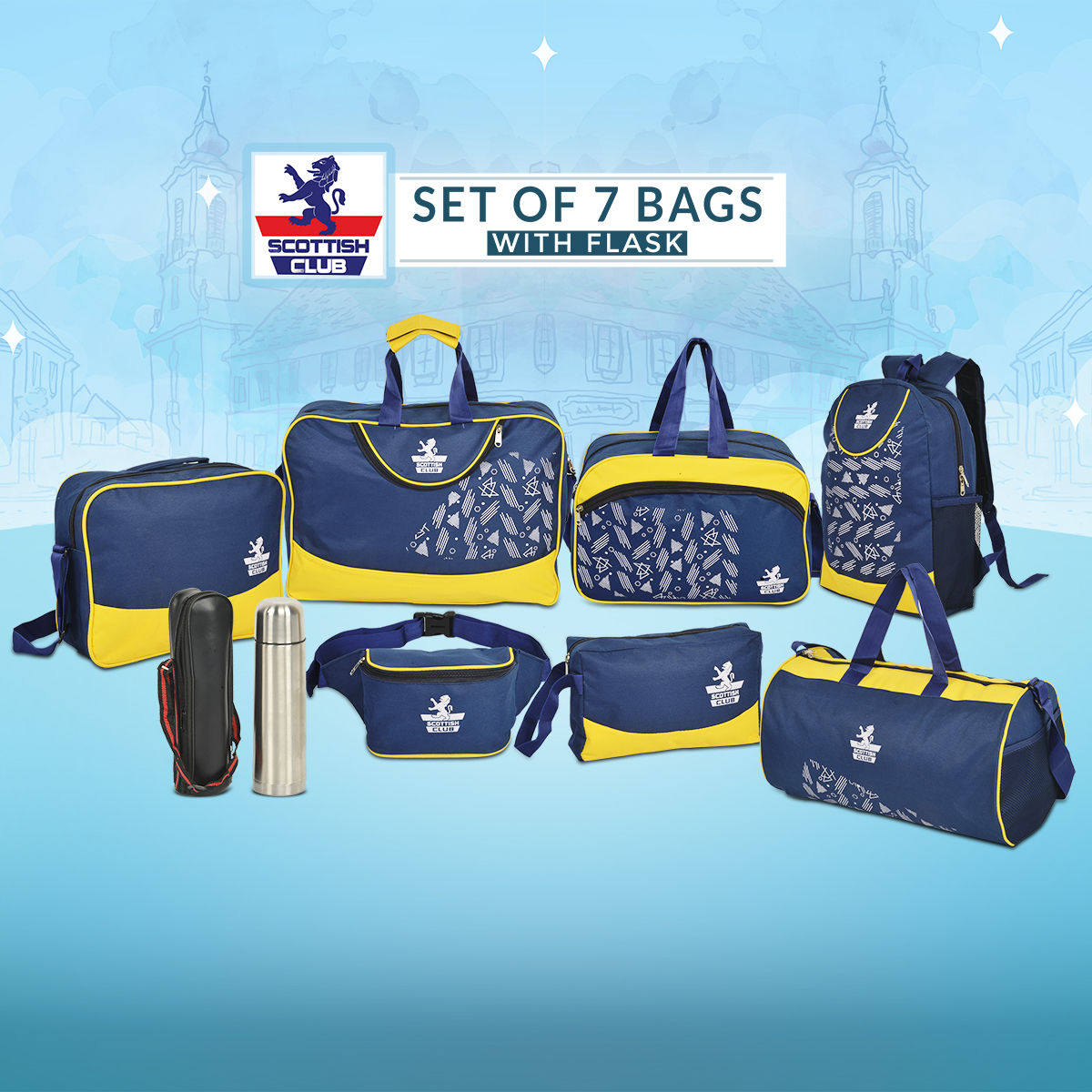a5e40f28cc2 Buy Scottish Club Set of 7 Bags with Flask Online at Best Price in India on  Naaptol.com