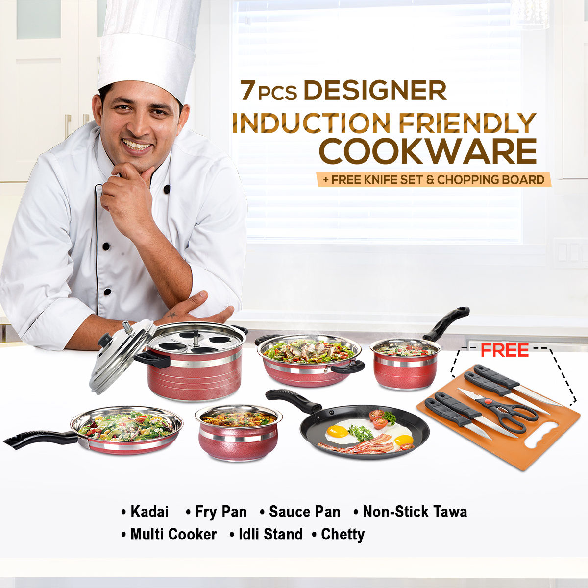Buy 7 Pcs Designer Induction Friendly Cookware Set Free Knife Set