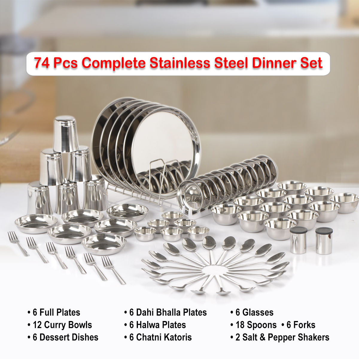 Buy 74 Pcs Complete Stainless Steel Dinner Set Online At Best Price