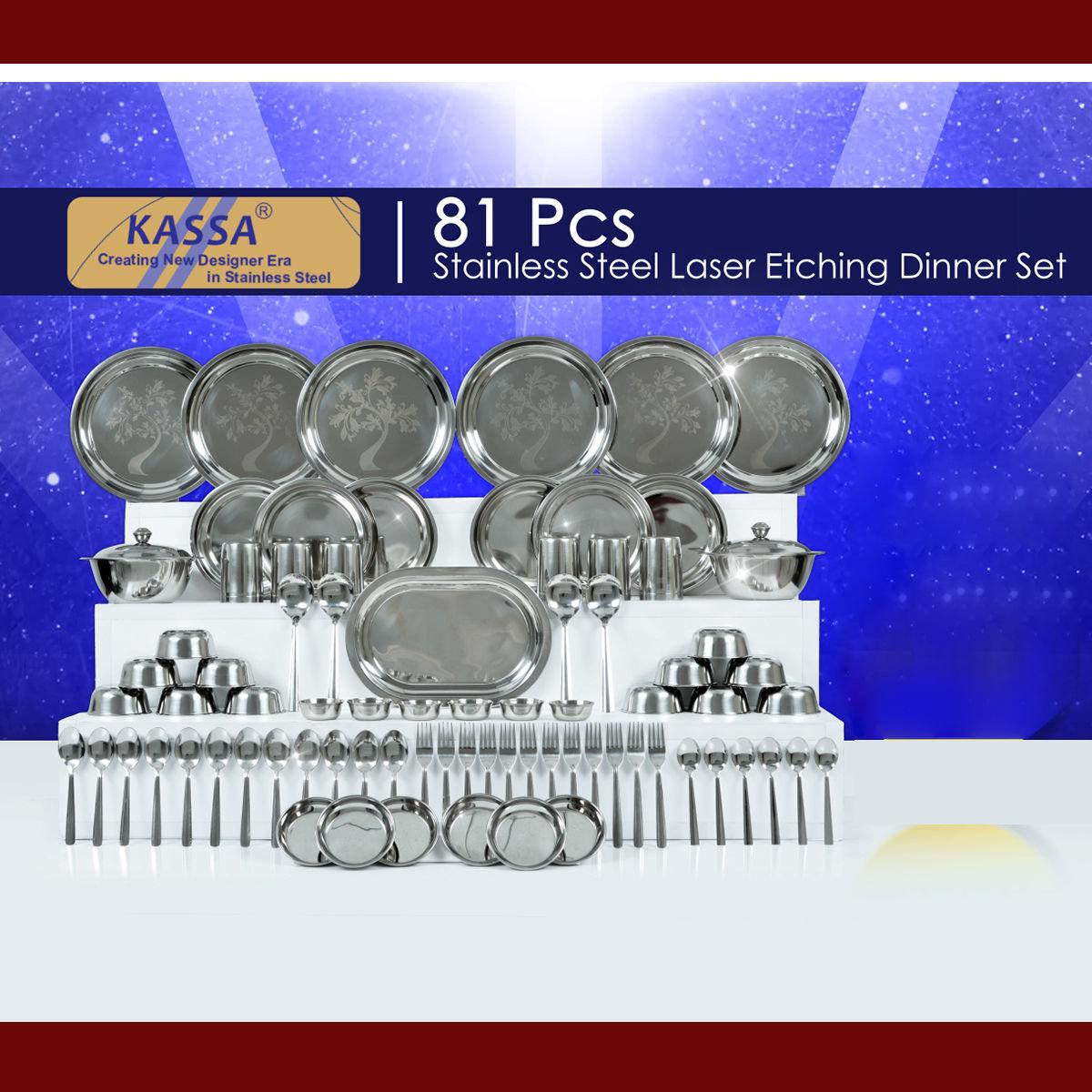 Buy 81 Pcs Steel Designer Dinner Set With Free Handi Gift Set Online At Best Price In India On Naaptol Com