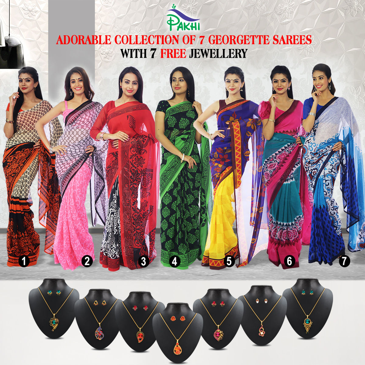 Buy Adorable Collection of 7 Georgette Sarees (7G14) with 7 Free Jewellery  Online at Best Price in India on Naaptol.com