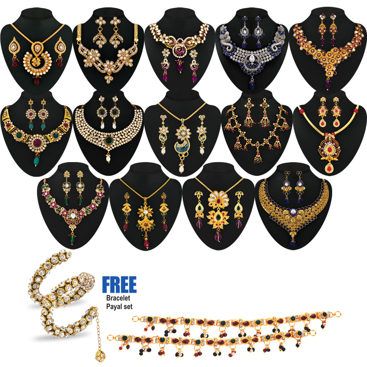 Buy Anmol 1 Gram Gold Plated 14 Jewellery Set Online At