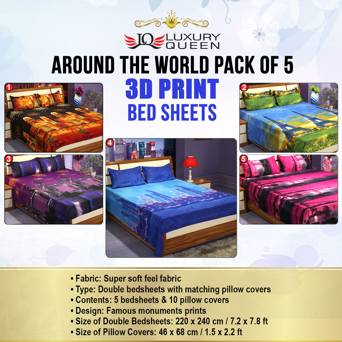 Buy Around the World Pack of 5 - 3D Bedsheets (5BS20 ...
