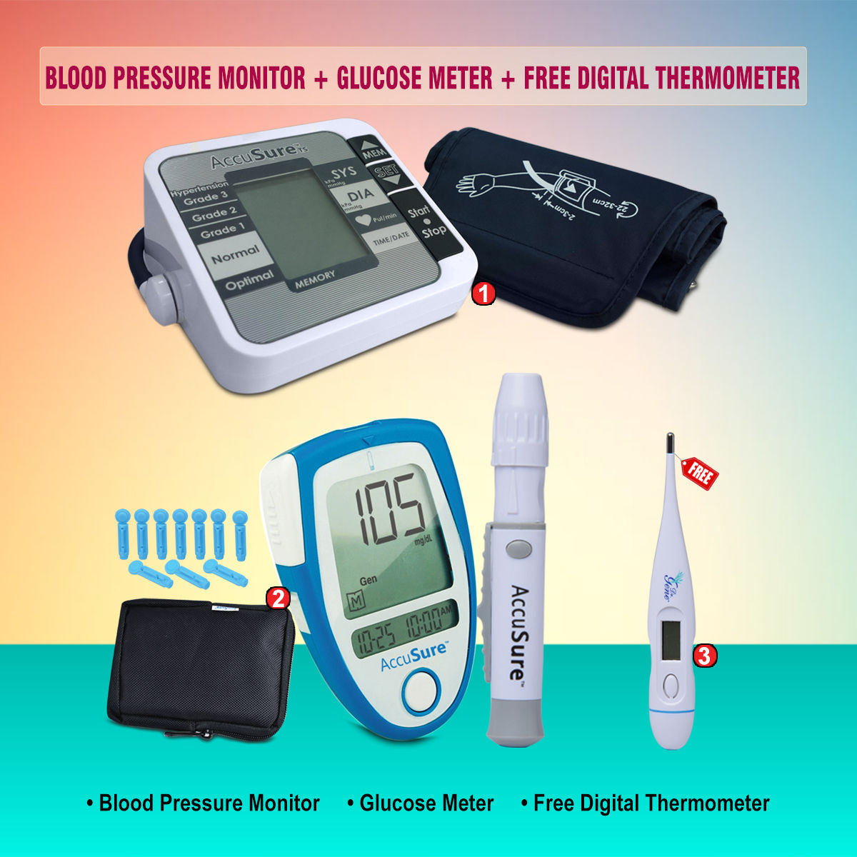 d6e01127836 Buy Blood Pressure Monitor + Glucose Meter + Free Digital Thermometer Online  at Best Price in India on Naaptol.com