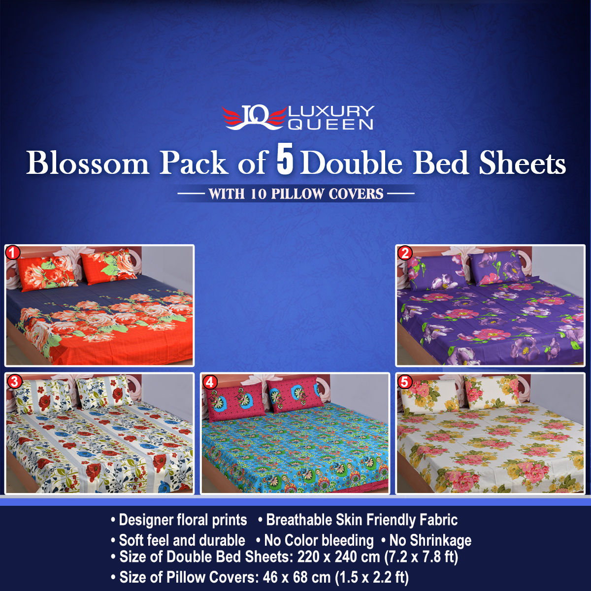 Hot deals store buy blossom pack of 5 double bedsheets for Living room ideas trackid sp 006