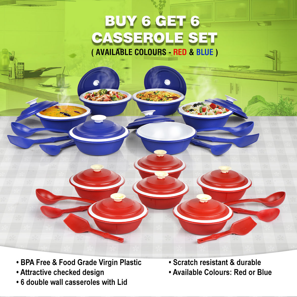 Buy 6 Casserole Set With 6 Free Kitchen Tools Online At Best Price
