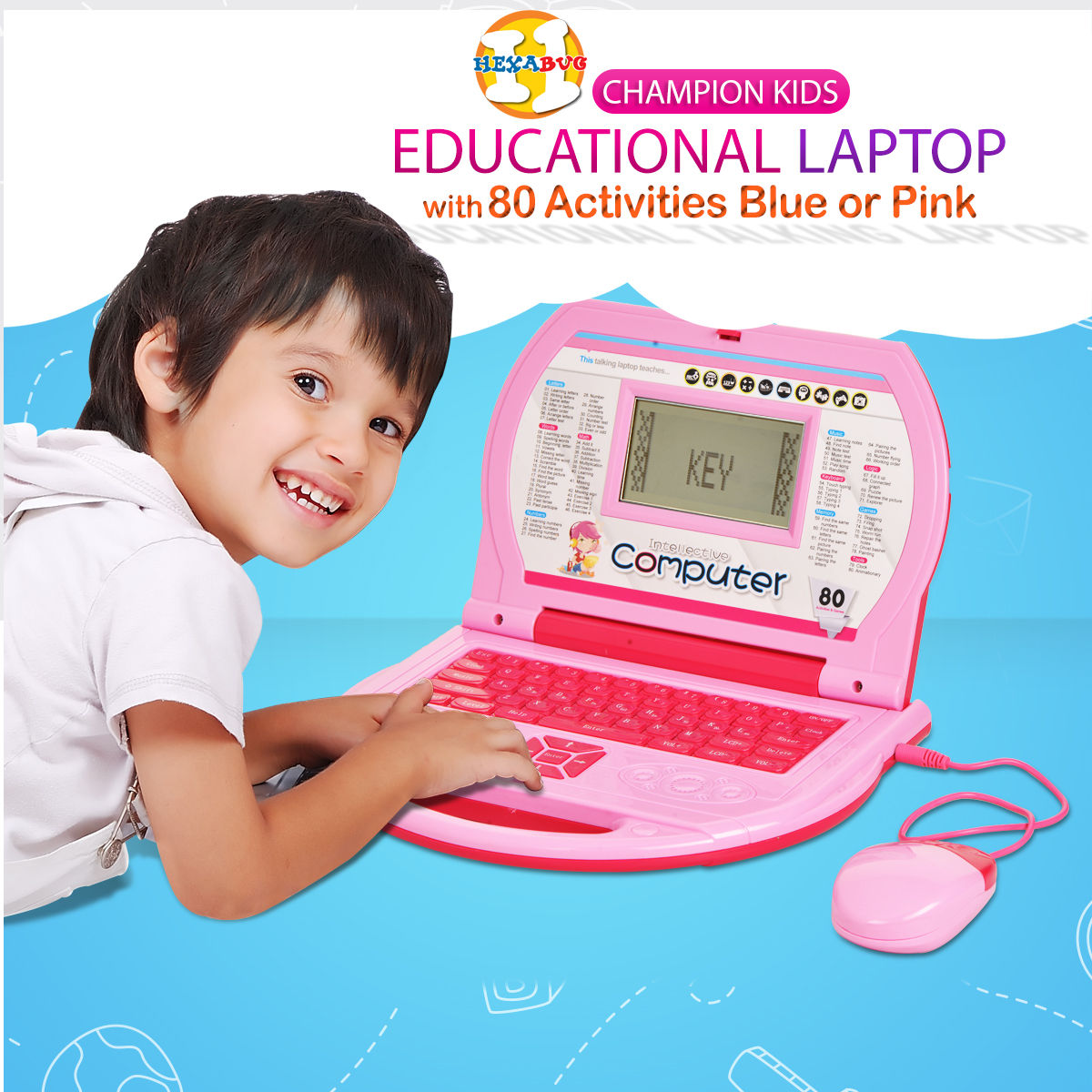 buy champion kids educational laptop with 80 activities blue or pink online at best price in. Black Bedroom Furniture Sets. Home Design Ideas