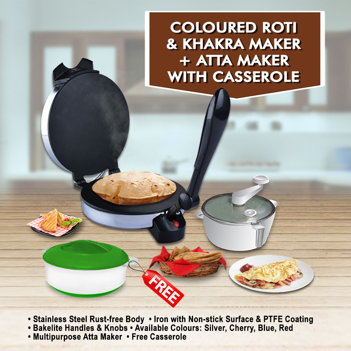 Buy Coloured Roti And Khakra Maker Atta Maker With Free Casserole