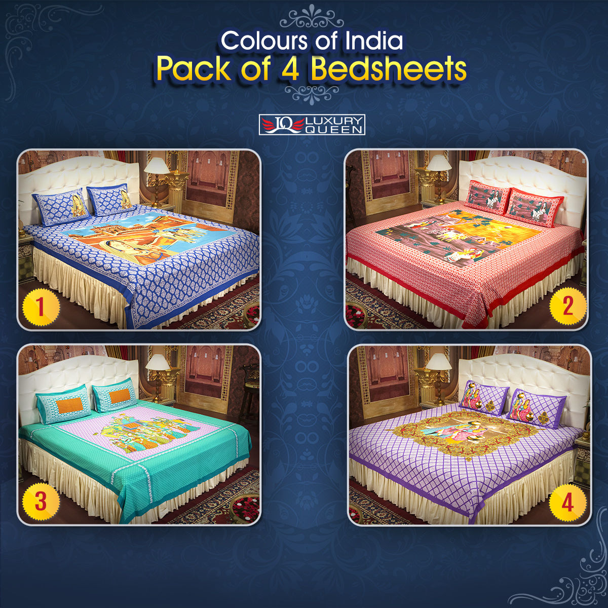 Picture of: Buy Colours Of India Pack Of 4 Bedsheets 4ddbs3 Online At Best Price In India On Naaptol Com