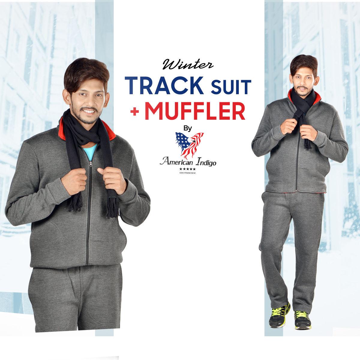 d79cd8656 Buy American Indigo Winter Track Suit + Muffler Online at Best Price in  India on Naaptol.com