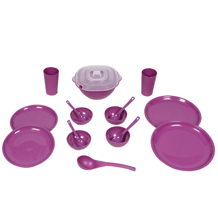 Buy kitchen duniya round dinner set 2 person 16 piece for Naaptol kitchen set 70 pieces
