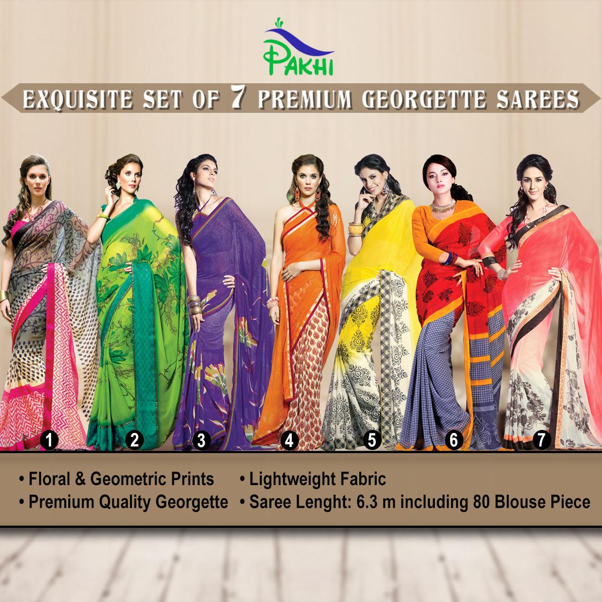 7d1494b9879f3 Buy Exquisite Set of 7 Premium Georgette Sarees (7G16) Online at Best Price  in India on Naaptol.com