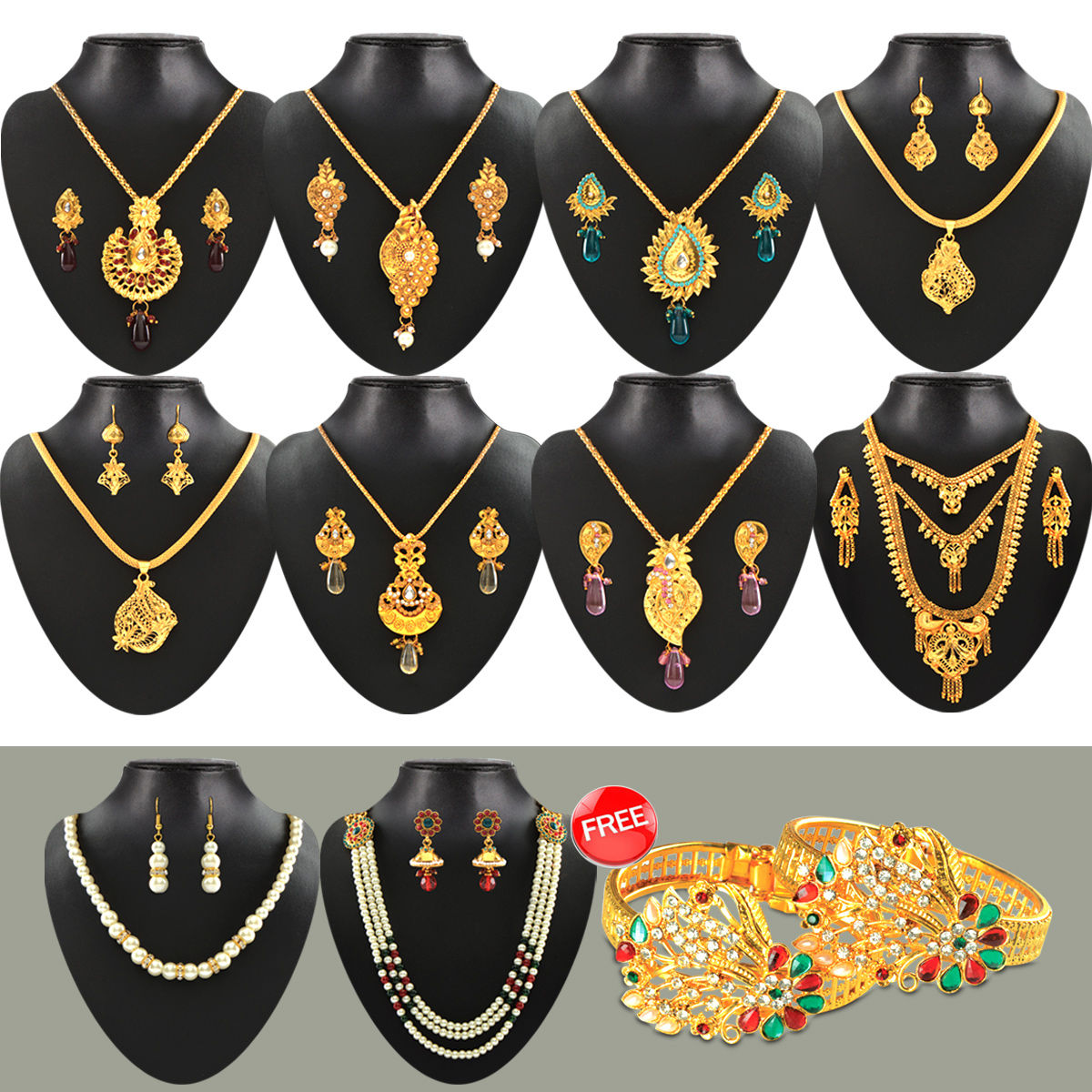 9b042e3b8 Buy Fascinating 1 Gram Gold Plated Jewellery Collection - AKSO Online at Best  Price in India on Naaptol.com