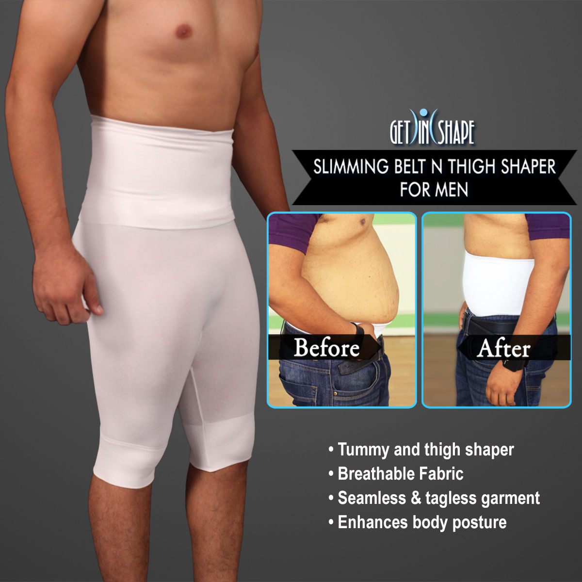 c12d988c88 Buy Get In Shape Slimming Belt n Thigh Shaper for Men Online at Best Price  in India on Naaptol.com