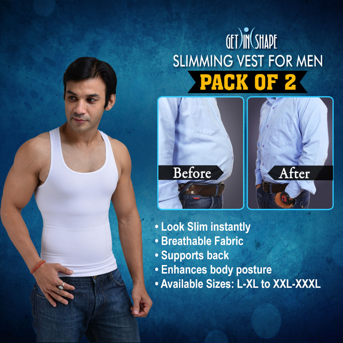 6fc8a7681e Buy Get In Shape Slimming Vest for Men - Pack of 2 Online at Best Price in  India on Naaptol.com