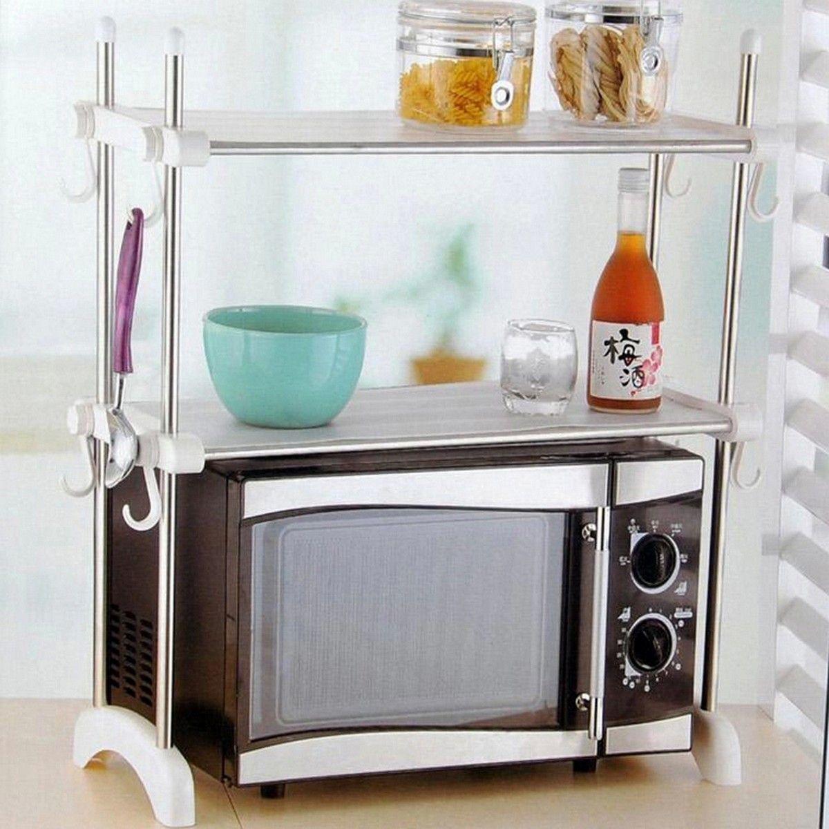 Kitchen shelves for microwave - Kawachi Kitchen Microwave Oven Racks Double Bowl Stainless Steel Rack K195