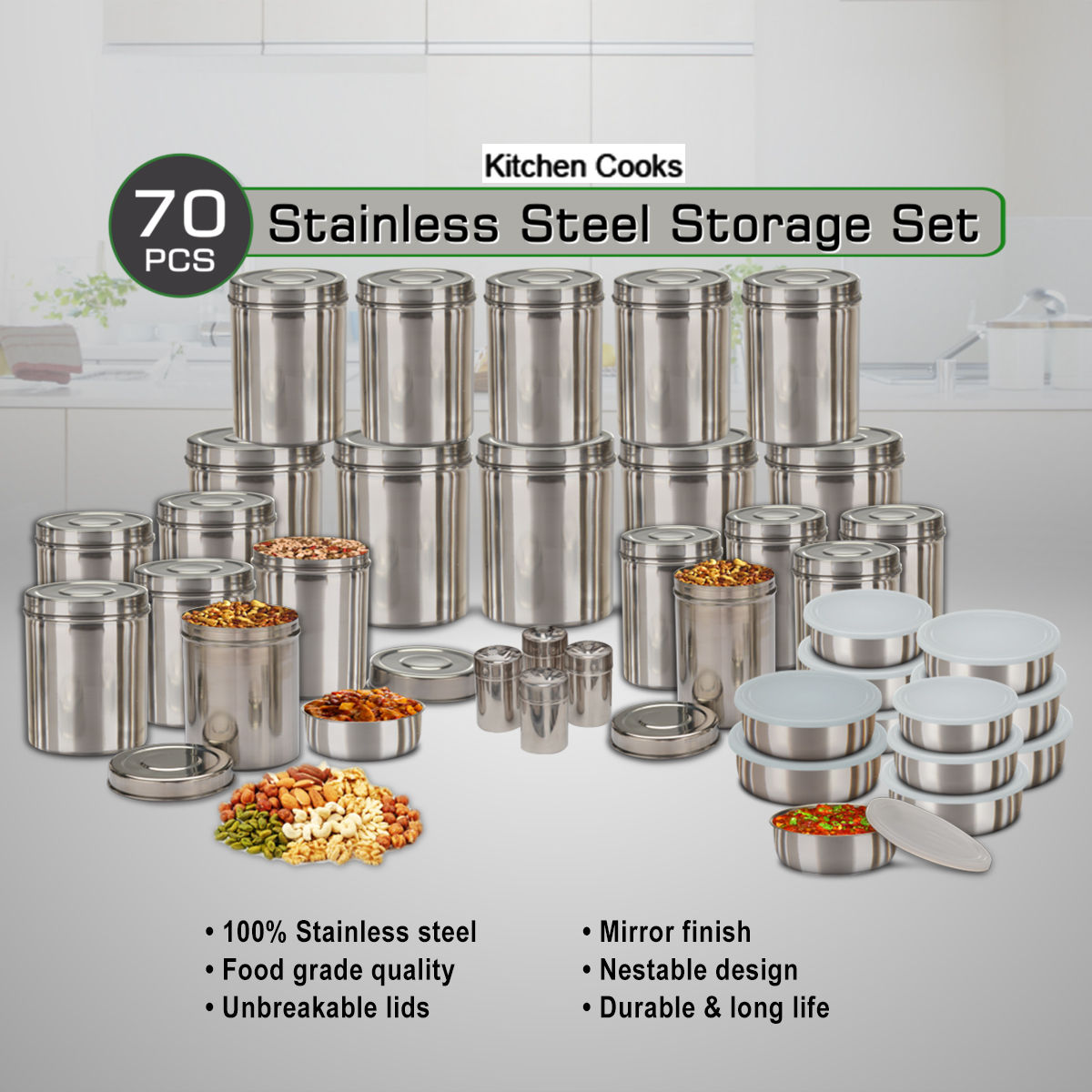 Buy Kitchen Cooks 70 Pcs Stainless Steel Storage Set Online At Best