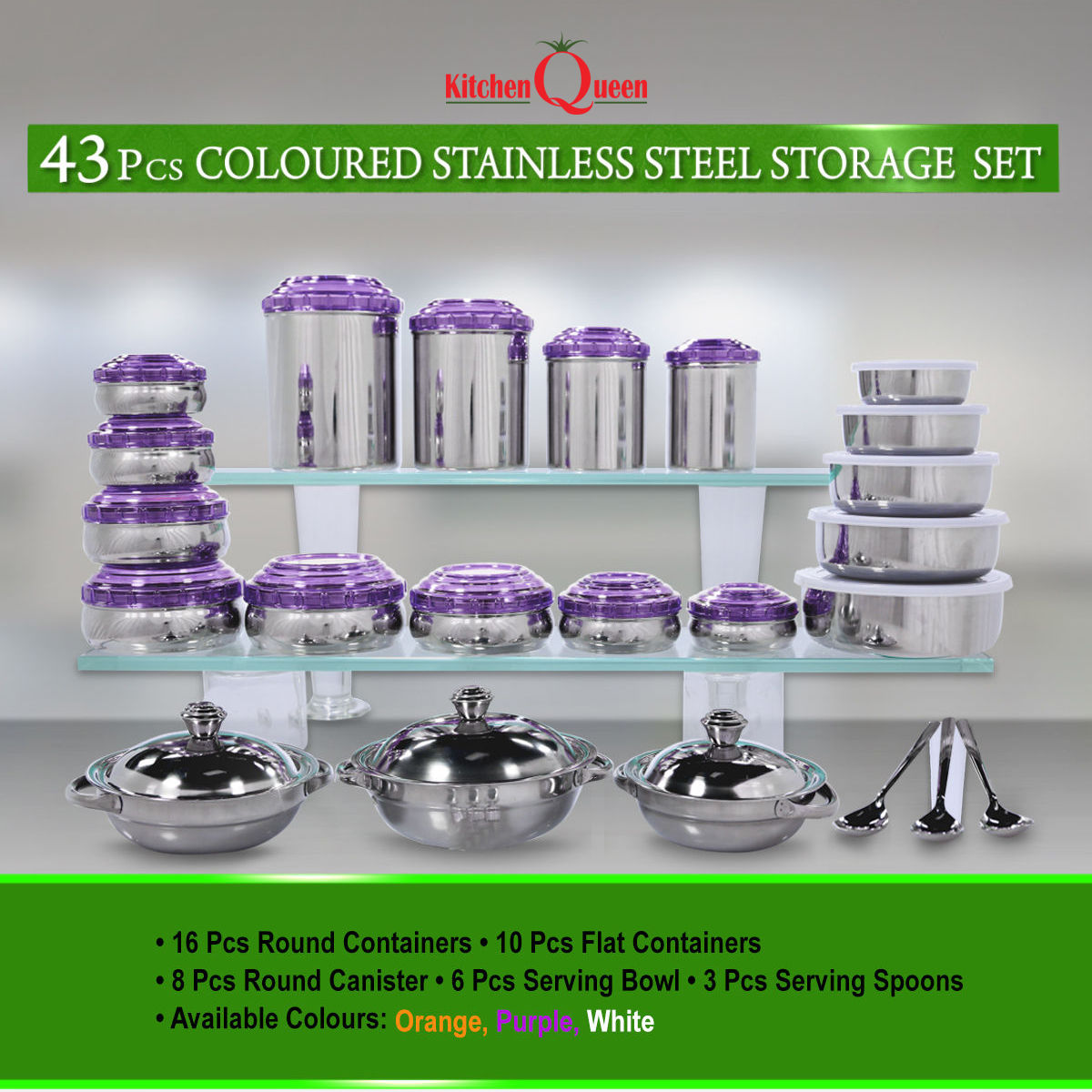Buy Kitchen Queen 43 Pcs Coloured Stainless Steel Storage Set Online