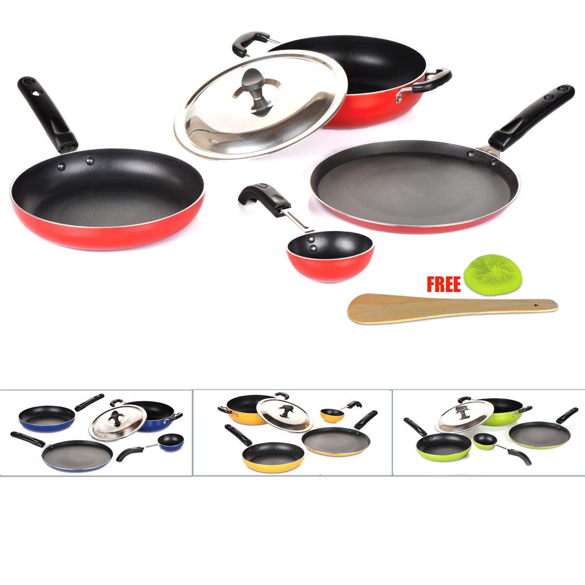 Buy 5 Pcs Coloured Induction Friendly Non Stick Cookware Set Online ...