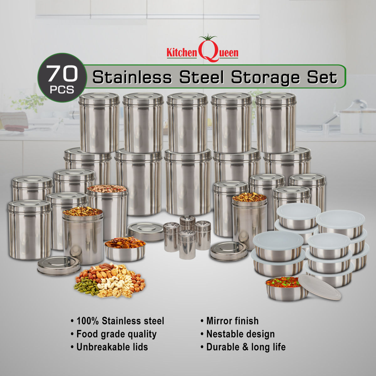 Buy Kitchen Queen 70 Pcs Stainless Steel Storage Set