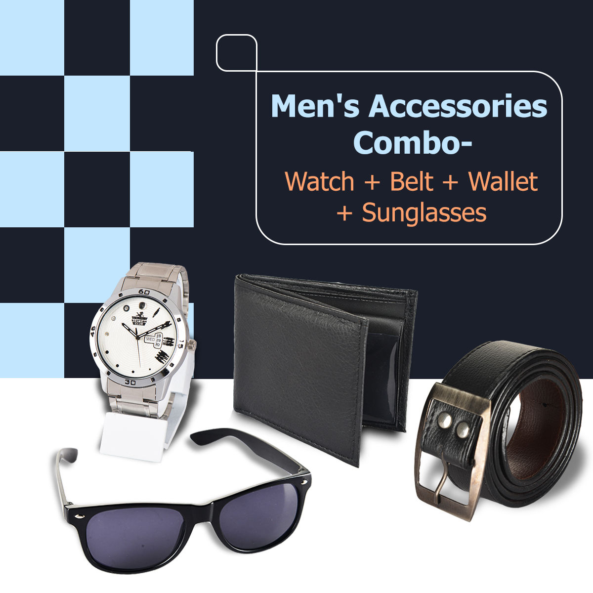 d8a266ecc19 Buy Men s Accessories Combo - Watch + Belt + Wallet + Sunglasses Online at Best  Price in India on Naaptol.com