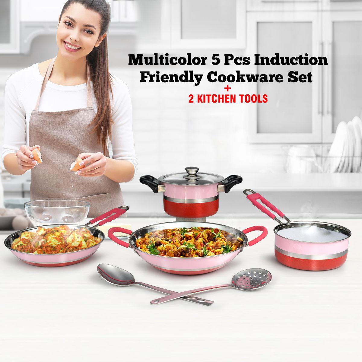 Buy Multicolor 5 Pcs Induction Friendly Cookware Set + 2 Kitchen ...