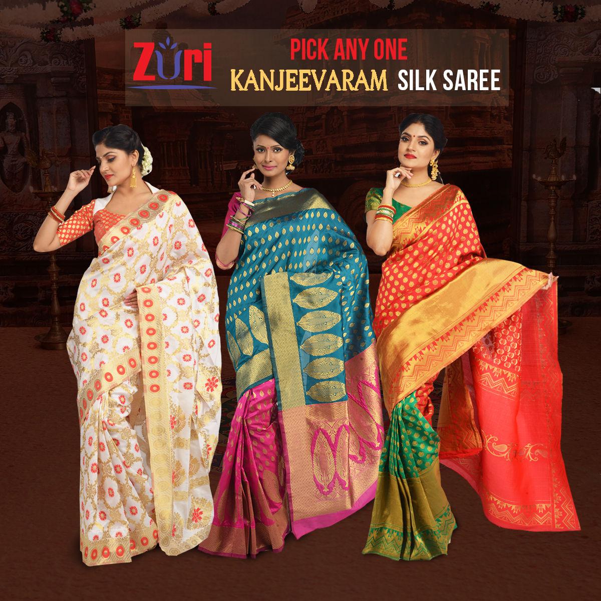 9a49e248c47 Buy Pick Any One Kanjeevaram Silk Saree by Zuri (KSS3) Online at Best Price  in India on Naaptol.com