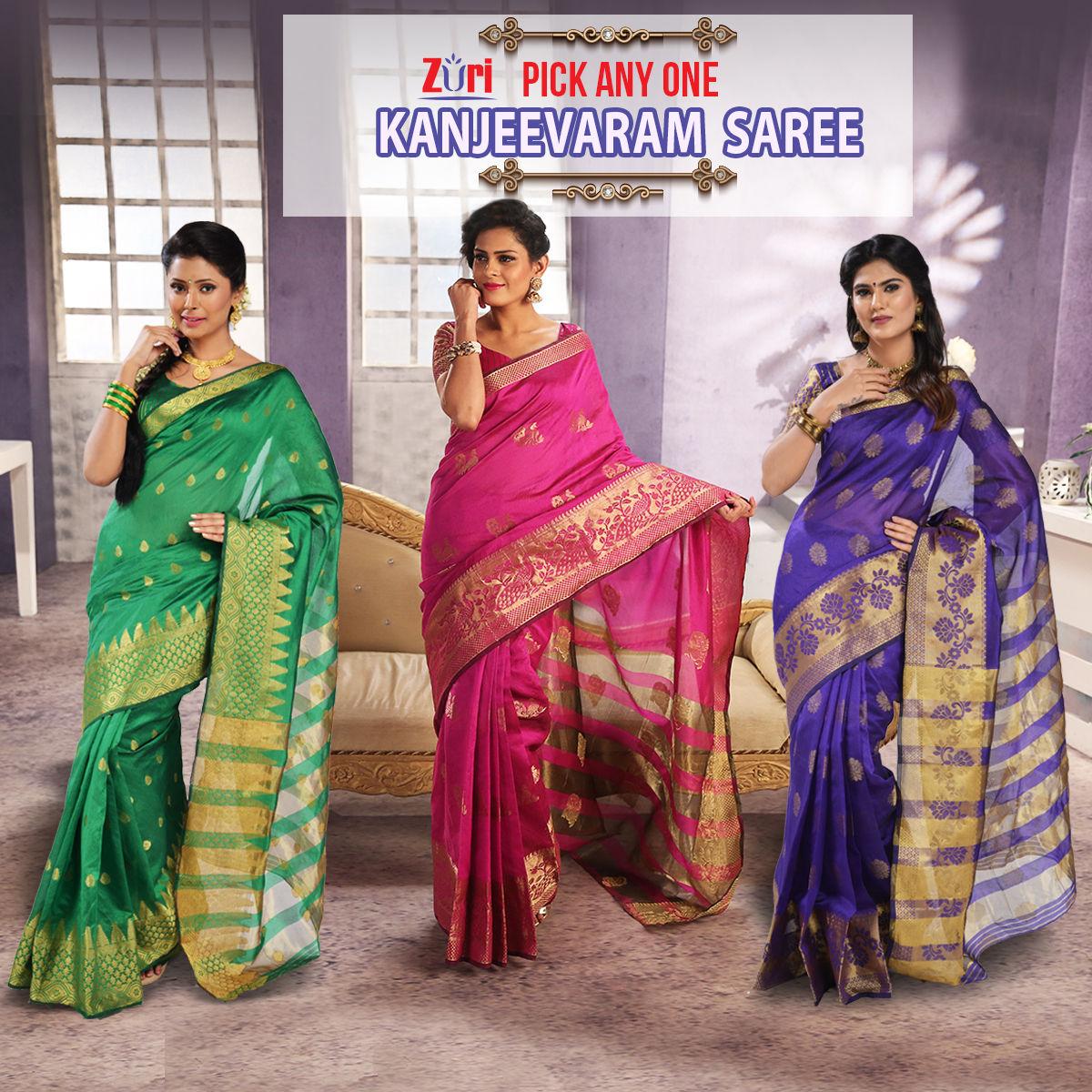 8df86d5f3eb Buy Pick Any One Kanjeevaram Silk Saree by Zuri (KSS5) Online at Best Price  in India on Naaptol.com