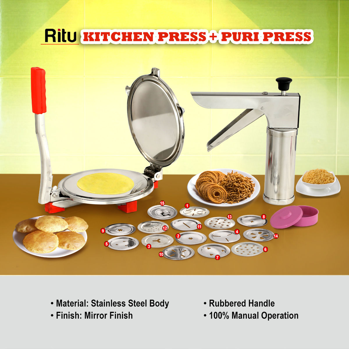 Buy Ritu Kitchen Press Puri Chapati Press Combo Online At Best