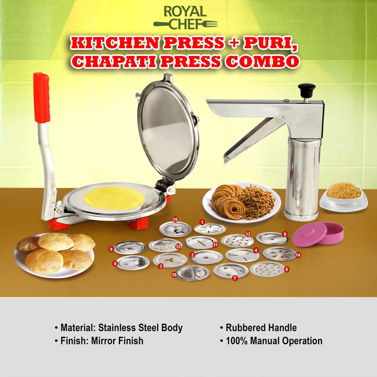 Buy royal chef kitchen press puri chapati press combo for Naaptol kitchen queen set