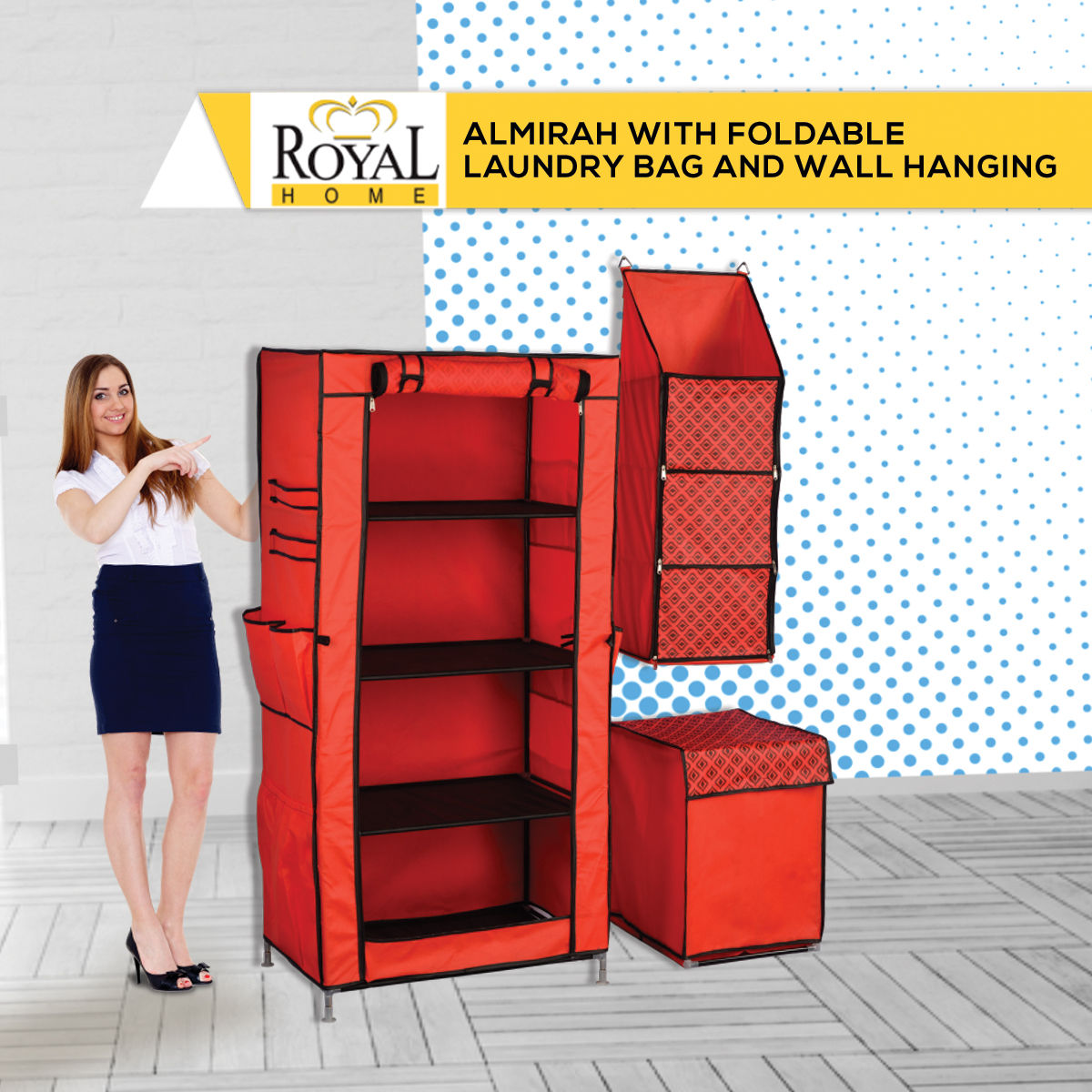 Buy Royal Home Almirah With Foldable Laundry Bag And Wall Hanging