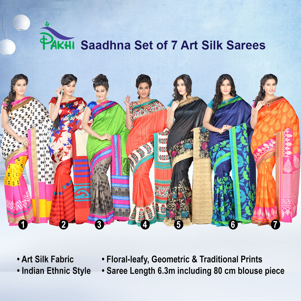 ad8cfc3b7 Buy Saadhna Set of 7 Art Silk Sarees by Pakhi (7A11) Online at Best Price  in India on Naaptol.com